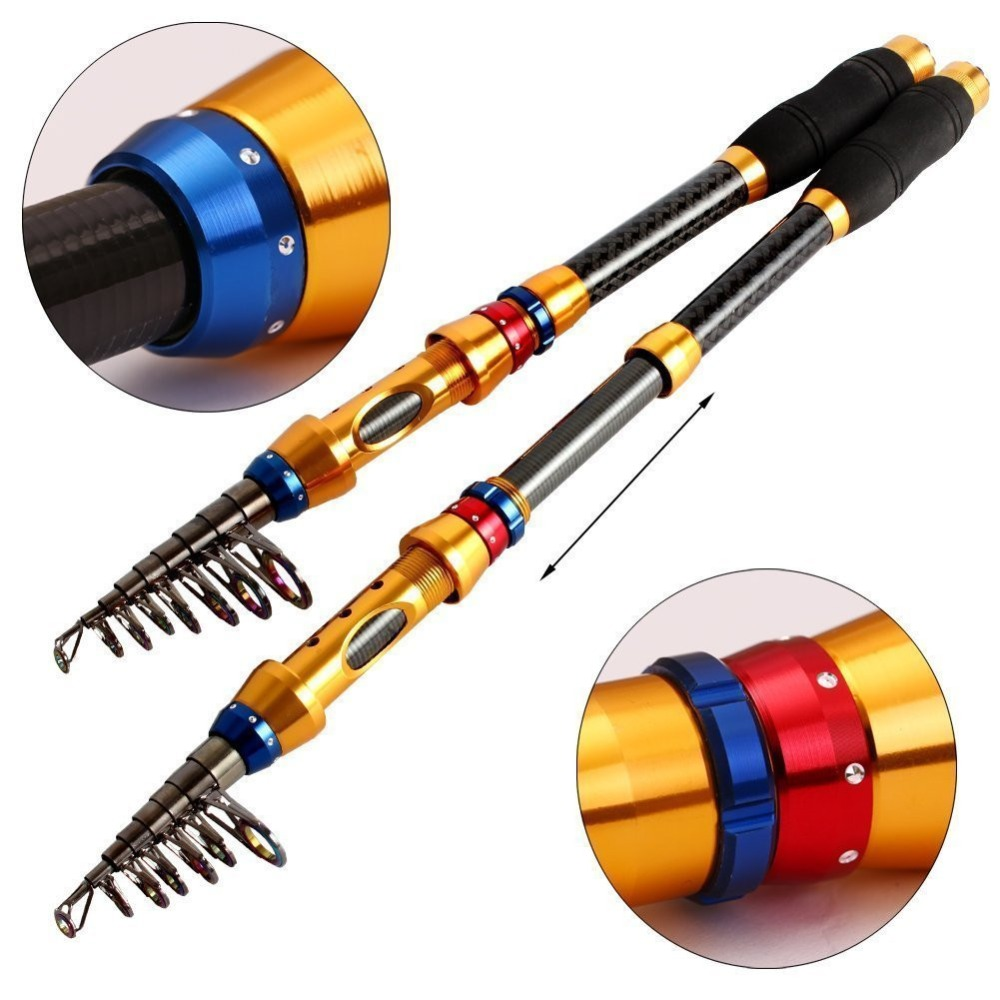 NEW 2017 Best 99% Carbon Fiber Metal Reel Seat Sea Fishing Rods Telescopic Pole Fact action Top Quality Stick Fishing Rod
