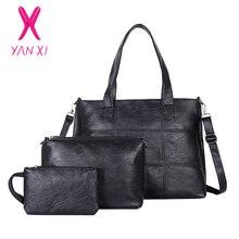 YANXI Women Bag Set Big Capacity Female Handbag Fashion Shoulder Purse Ladies PU Leather Womens Wallet