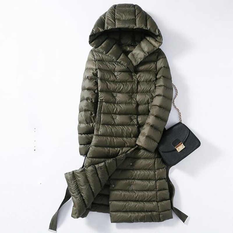 Женский пуховик на утином пуху; большие размеры 3XL; сезон осень-зима; парка с поясом; длинные пальто; женская Ультралегкая верхняя одежда; пальто с капюшоном; 825