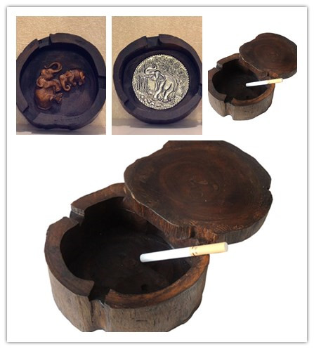Teakwood Ashtray for Smoking Weed Cigarette Southeast Asia Style Handwork Ash Tray Vintage Cendrier Table Decorative Cenicero