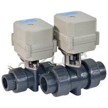 ПВХ DC24V 2 способ электрические шаровой кран, DN20 G3/4 «пластик клапаном с электроприводом