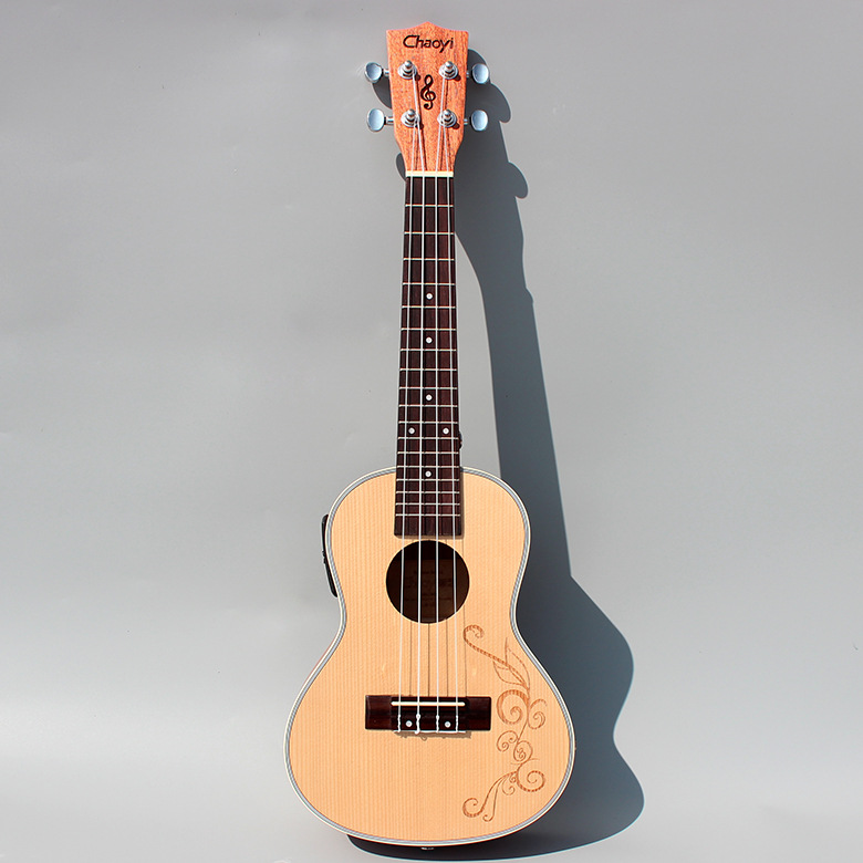 Carving Concert Acoustic Electric Ukulele 23 Inch Guitar Ukelele Guitarra  Picea Asperata Mahogany  Wood Plug-in Uke Handcraft two way regulating lever acoustic classical electric guitar neck truss rod adjustment core guitar parts