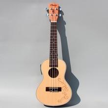 Carving Concert Acoustic Electric Ukulele 23 Inch Guitar Ukelele Guitarra  Picea Asperata Mahogany  Wood Plug-in Uke Handcraft