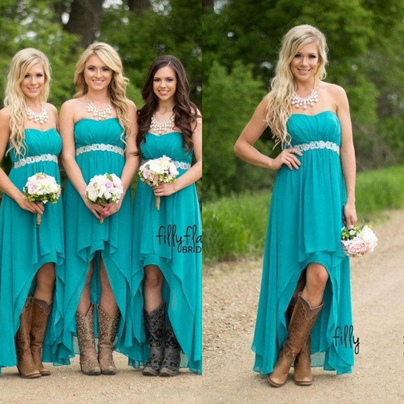 Long Bridesmaid Dresses 2019 Cheap High Low Country Style Chiffon Wedding Party Guest Gown vestido madrinha
