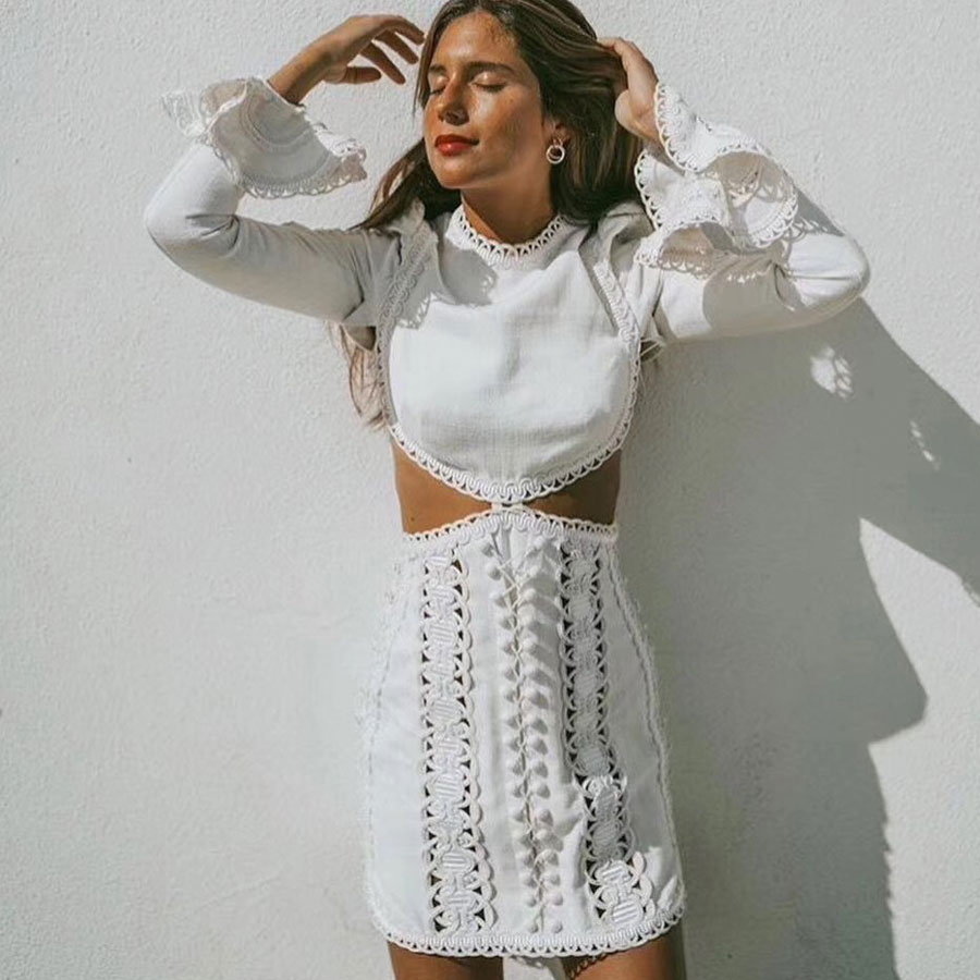 2019 New Arrival Women Fashion Sexy Mini dress Long Sleeve Hollow Out Lace Party Dress Waist High Quality Runway Dress Vestidos
