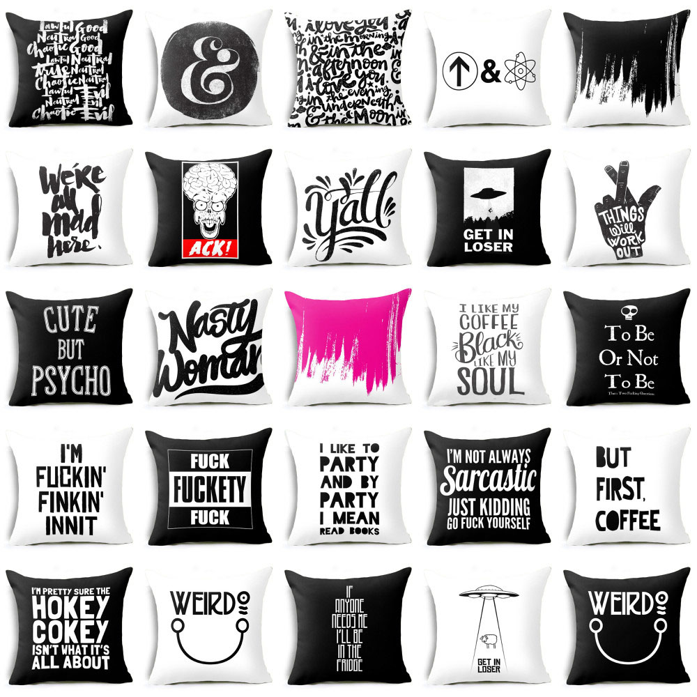 Elife Polyester Cotton Black Funny Words Cushion Cover  Pillow Case Pillows Cover For Sofa Car Waist Cojines Home Decor 45*45CM