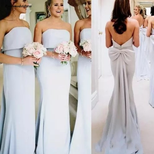 Us 91 2 20 Off 2019 Sheath Bridesmaid Dresses With Bow Strapless Open Back Sleeveless Modern Wedding Guest Party Gowns Maid Honor In