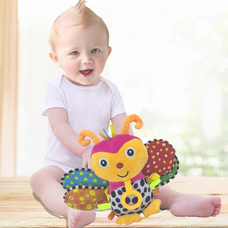 Bee Shape Baby Infant Animal Soft Rattles Bed Crib Stroller Music Hanging Bell Plush Toy Kids Stuffed Toys Children Dolls Gift