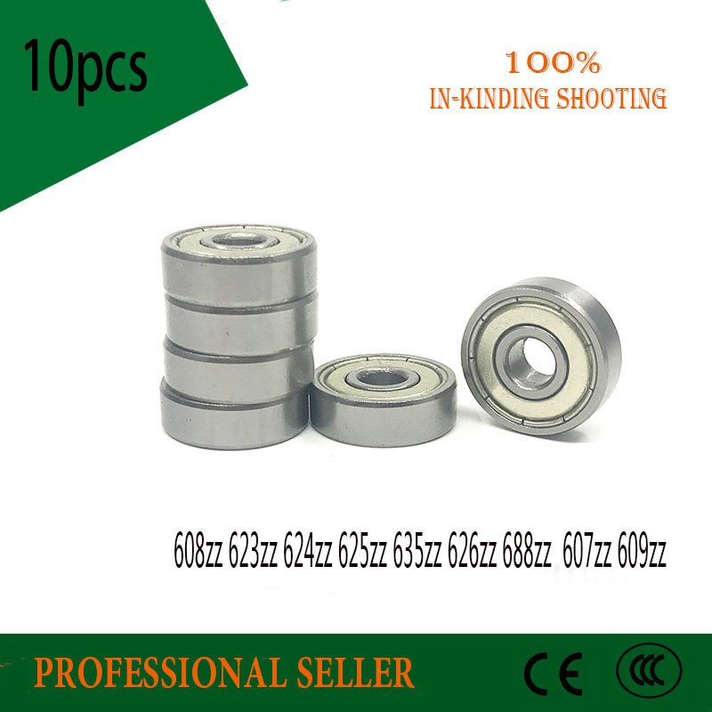 10PCS Deep Groove Ball Bearing 608zz 623zz 624zz 625zz 635zz 626zz 688zz  607zz 609zz 3D Printers Parts Deep Groove Pulley Wheel