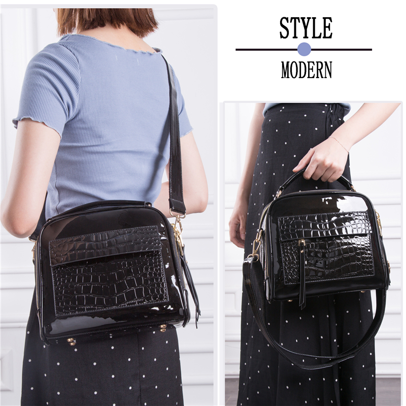 Image 4 - FLYONE Crossbody Bags for Women 2019 Women Handbag Crocodile Patent Leather Shopper Tote Shoulder Bag Women's Bag Bolsa Feminina-in Shoulder Bags from Luggage & Bags