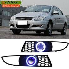 EEMRKE для Chery M11 A3 COB светодиодный Ангел глаз DRL H11 55 Вт галогенный желтый противотуманный светильник s лампа дневного света светильник для автомобиля