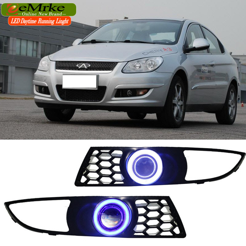 EEMRKE For Chery M11 A3 COB LED Angel Eye DRL H11 55W Halogen Yellow Fog Lights Lamp Daytime Running Light Car Styling eemrke led daytime running lights for mitsubishi grandis cob angel eye drl halogen h11 55w fog light