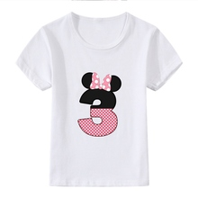 Interesting Birthday Present Number Bowknot Cute Cartoon Modal Kidswear, Boy/girl Summer T-shirt Short Sleeve White Kid Clothes