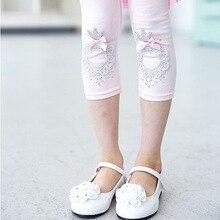 2016 Лето детская Одежда Девочек PantsCalf-Небольшой Лук Сплошной Цвет Цветка Детская Одежда Детей Брюки