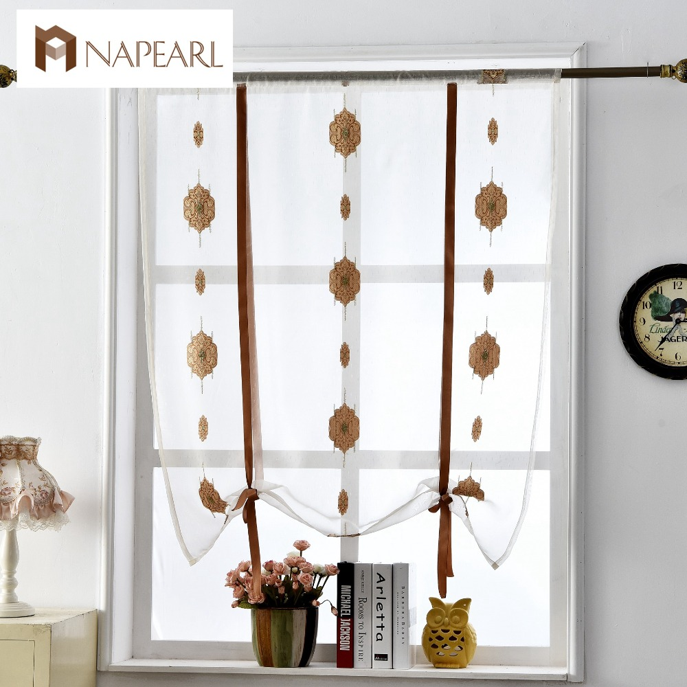 European roman curtains luxury short kitchen door voile for Roman shades that hang from a curtain rod
