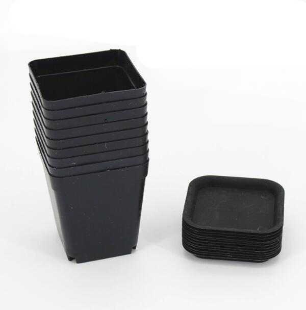 10 قطعة/الوحدة 7*7*8 سنتيمتر أسود اللون زهرة الأواني المزارعون وعاء صواني الأواني البلاستيكية الإبداعية الصغيرة مربع الأواني للنباتات العصارية GYH
