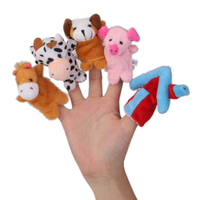 Kids Plush Toys Bunny Soft Cute Birthday Gifts with 10Pcs Finger Puppets Cloth Doll
