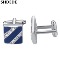 SHDEDE Wedding Cufflinks For Mens Fashion Jewelry Luxury Noblest High Quality Anniversary Gift Austrian Crysta Cuff links *25342