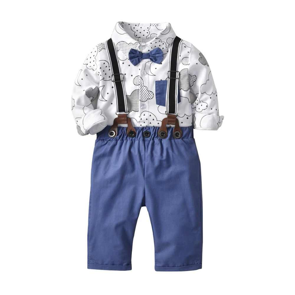 873bb3f35 Carters Gentleman Boy Clothing Set Baby Boy Outfit Cloud Printed Boys  Shirts Cotton White Tops + Boys Overalls Baby Romper 2Pcs