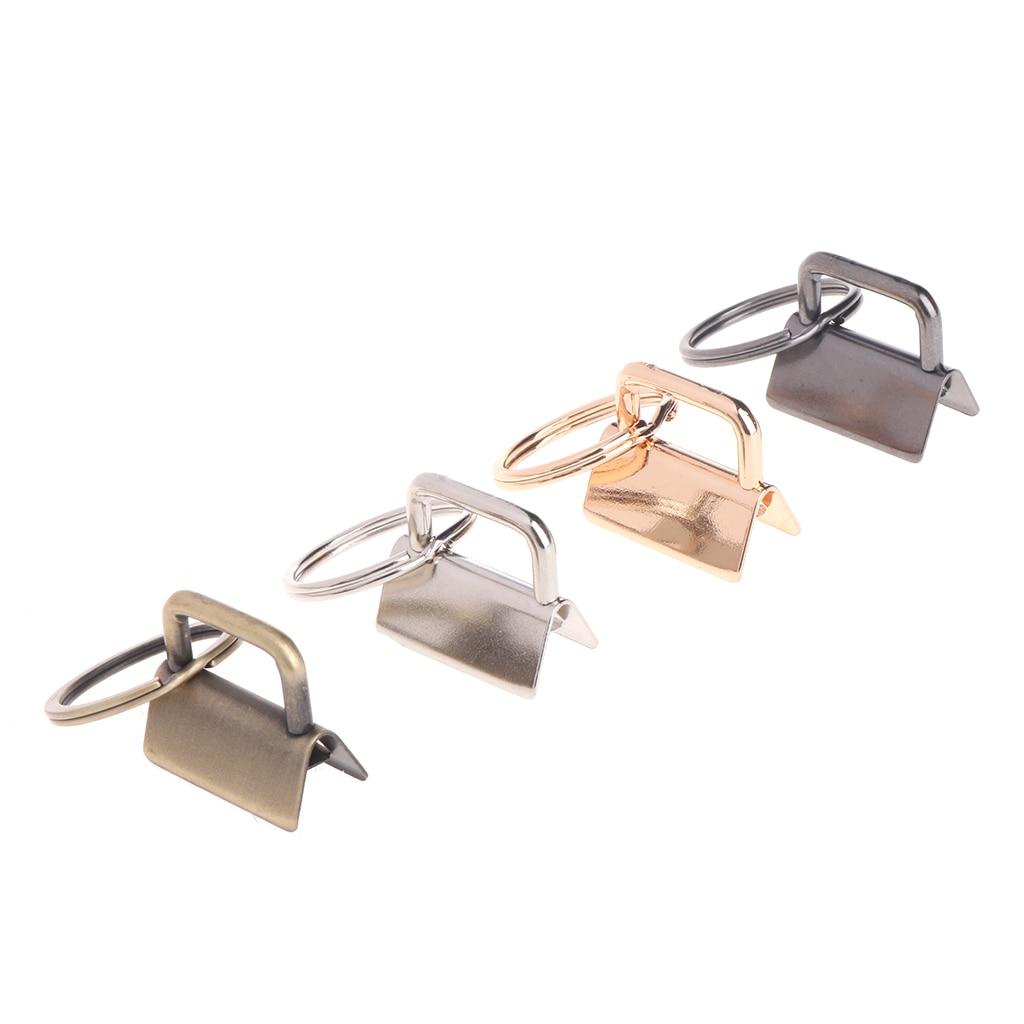 10Pcs Key Fob Hardware 25mm Keychain Split Ring For Wrist Wristlets Cotton Tail Clip