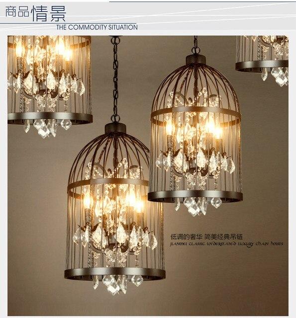 New Retro Crystal Chandelier Led Lamps Loft Birdcage Lamp E14 Light