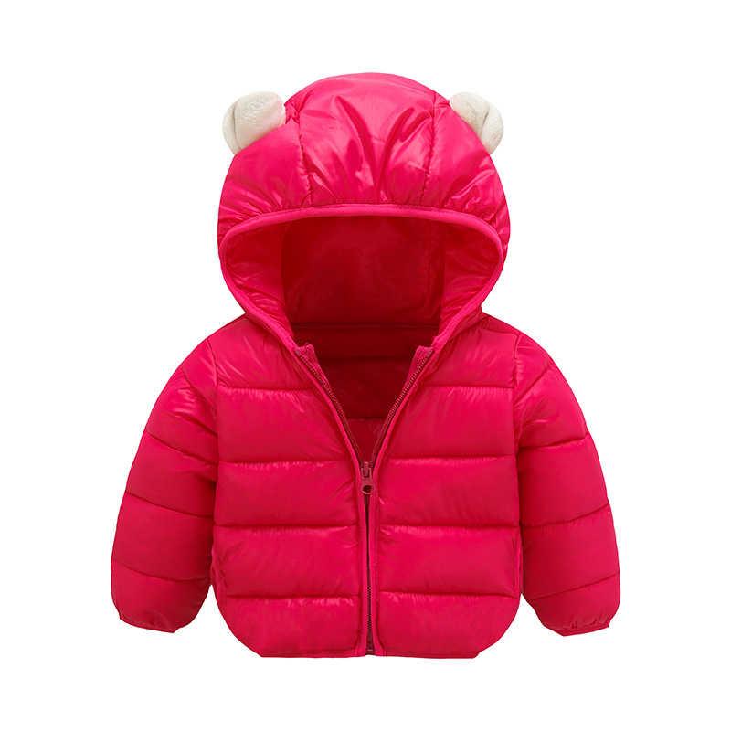 Новая осенне-зимняя детская куртка с капюшоном и маленькими ушками для маленьких мальчиков и девочек, яркие однотонные легкие тонкие детские пуховики, детская хлопковая куртка