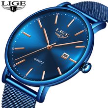 LIGE Mens Watches Top Brand Luxury Sport Watch Ultrathin Mesh Casual Waterproof Quartz Watch Men Blue Clock Relogio Masculino top brand luxury moon phase men quartz watches mens casual sport watch male multifunction waterproof clock relogio masculino