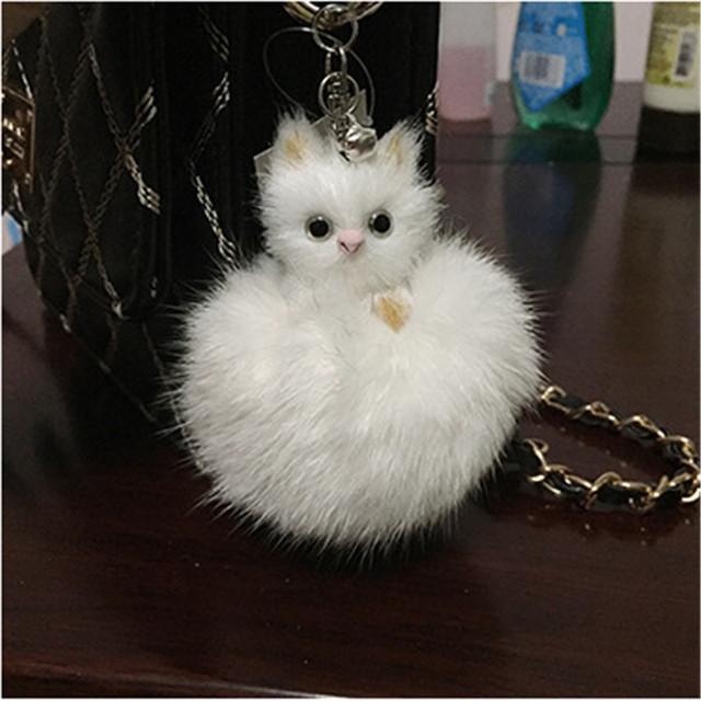 Monchichi fantástico bling bowknot coelho chapéu furball chaveiro pingente de bolsa encantos do carro chaveiro