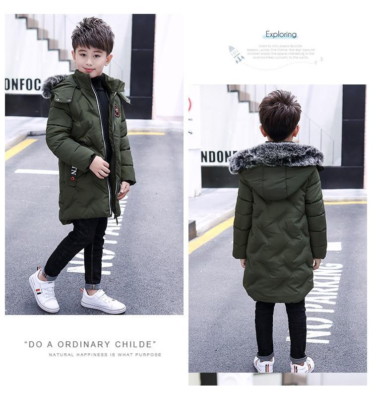 Meninos grandes casaco de inverno com capuz