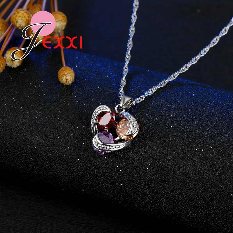 925 סטרלינג תכשיטי כסף סט מעוקב Zirconia קריסטל תליון שרשרת עגילי כלה חתונה קסם מתנת מסיבת ללבוש
