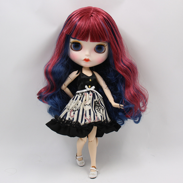 ICY factory blyth doll white skin joint body New matte face red mixed blue curly hair DIY sd gift toy