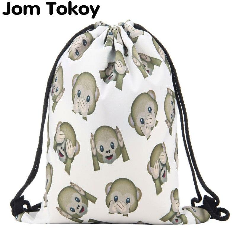 New Fashion Women Backpack 3D Printing Travel Softback Women Mochila Drawstring Bag Mens Backpacks Monkeys Girls Backpack