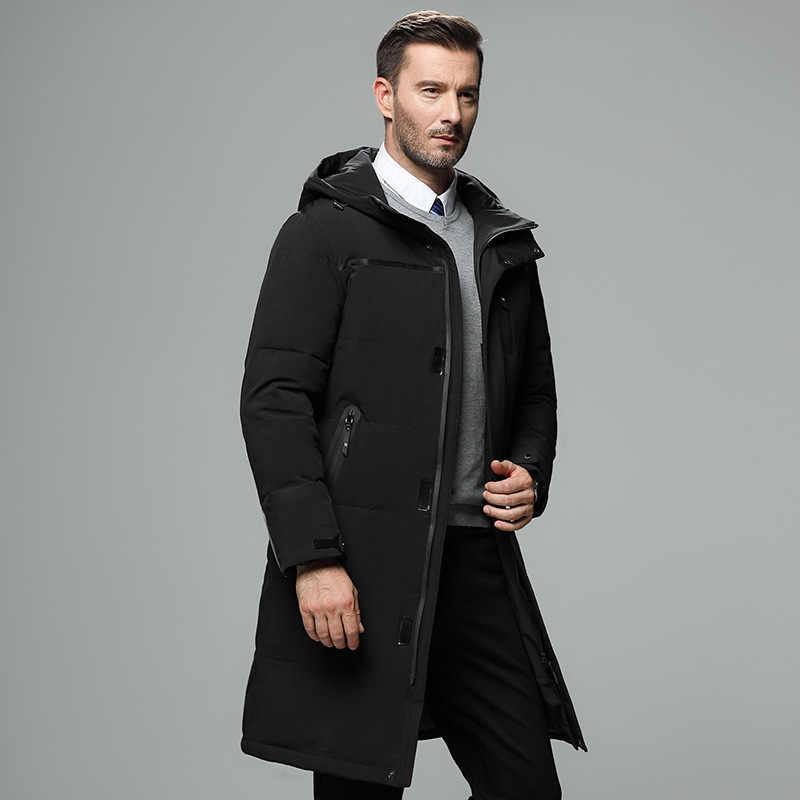 2018 Новая мужская длинная белая пуховая куртка с капюшоном, большие размеры, парки, Высококачественная брендовая мужская теплая зимняя куртка, Повседневная зимняя верхняя одежда