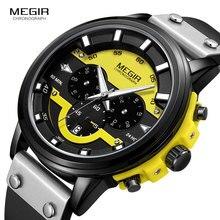 MEGIR 24 ชั่วโมง Chronograph นาฬิกาควอตซ์กันน้ำนาฬิกาข้อมือหนังลำลองสำหรับชายส่องสว่างกีฬานาฬิกา 2080 สีเหลือง
