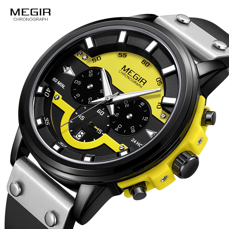 MEGIR 24 Hours Chronograph Quartz Watches Waterproof Casual Leather Wristwatch For Man Luminous Hands Sports Watch 2080 Yellow