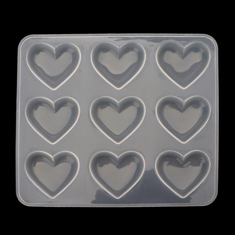 Silicone Mold 9pcs Heart DIY Epoxy Resin Crafts Jewelry Making Handmade Tools Mirror Crystal Molds Cake Fondant Chocolate