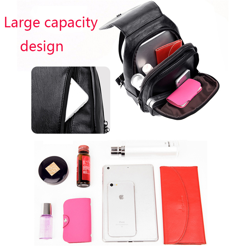 HTB1puBTFv1TBuNjy0Fjq6yjyXXat Women Leather Backpacks Zipper Female Chest Bag Sac a Dos Travel Back Pack Ladies Bagpack Mochilas School Bags For Teenage Girls