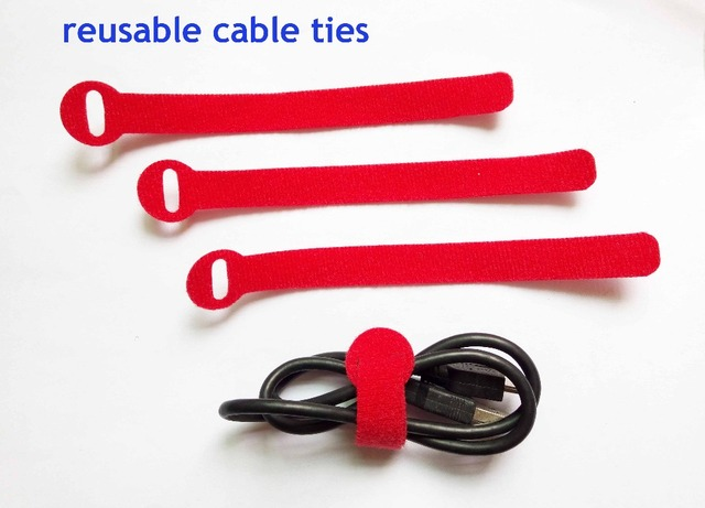a5c5e62543f8 48pcs 14*160mm red Nylon Reusable Cable Ties with Eyelet Holes back to back cable  tie strap hook cable organizer figment