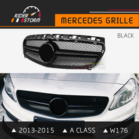 Riderstorm W176 Grill A45 Style Front Grille All Black Silver Car Racing Sports Mesh For Mercedes