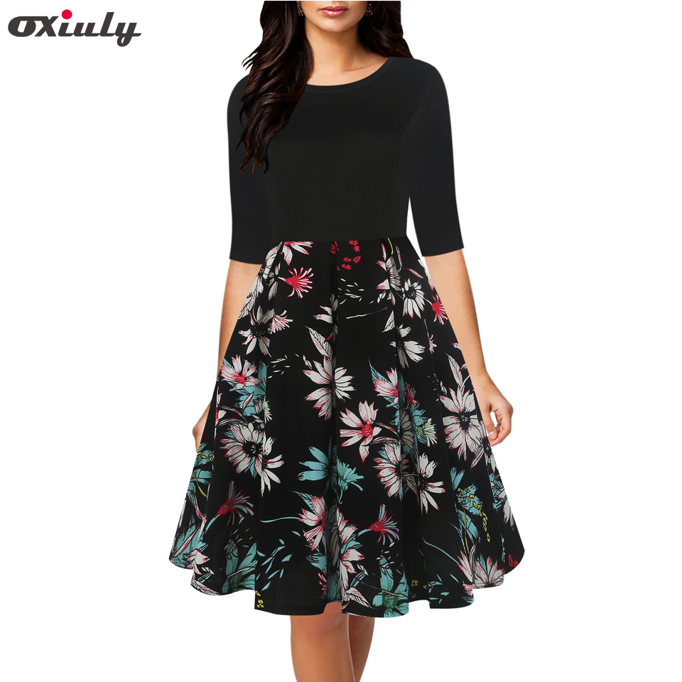 Oxiuly Casual Spring Autumn Elegant Three Quarter Sleeve Black Flower Patchwork Pleated Office Work Dresses