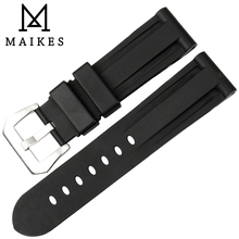 MAIKES New Arrival Fashionable Black Watch Band Replacement For Sport Dive Silicone Waterproof Strap Panerai 24MM