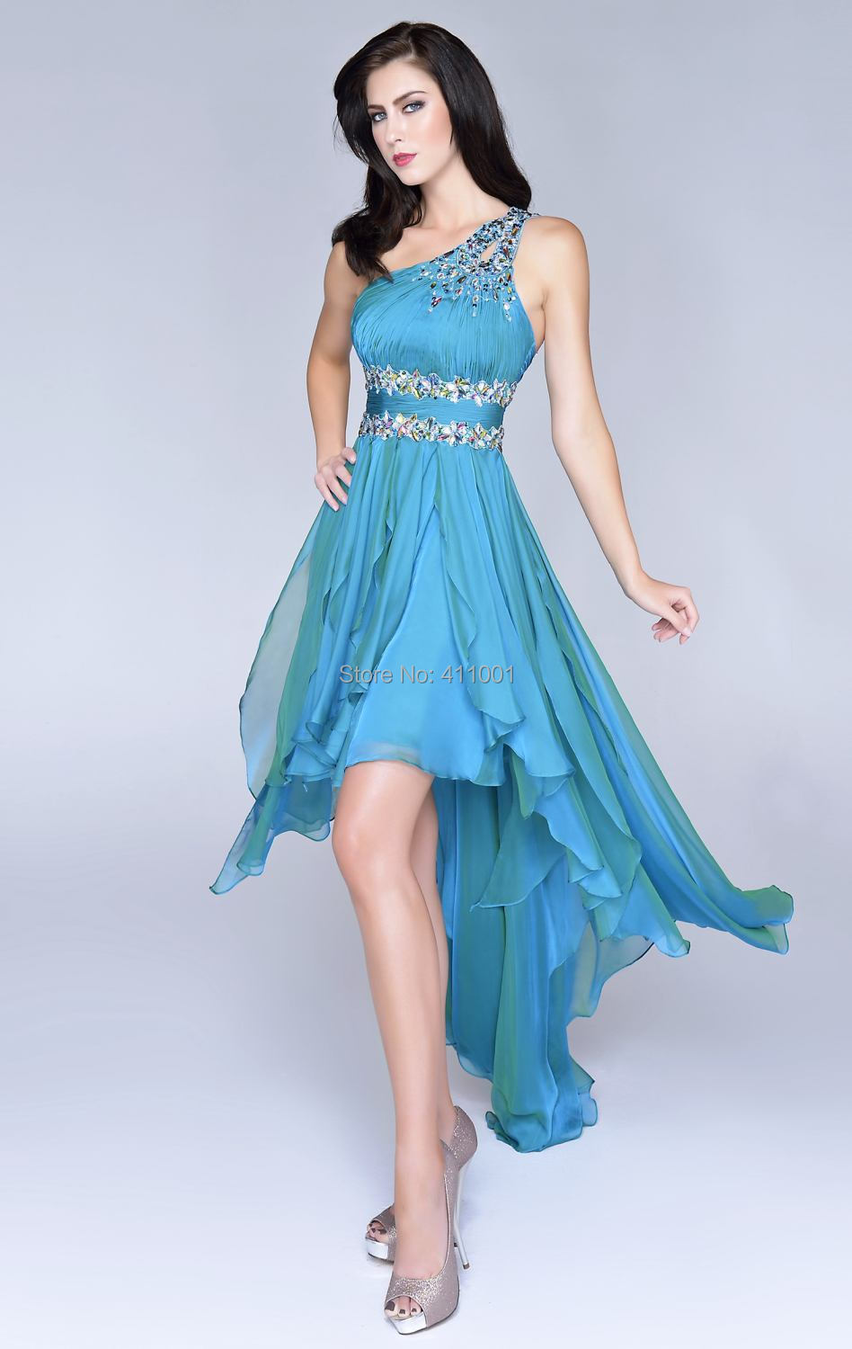 Teal One Shoulder Chiffon Beaded HI LO Cocktail Dress Party Bridal Gown ALL Sizes In Cocktail