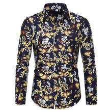Male Floral Print Dress Shirts Mens Shirt Slim Fit printing Long Sleeve Casual Cotton Fashion Spring Tops Men Shirts M-5XL fashion spring autumn casual men shirt slim fit flower print linen shirt long sleeved shirts male floral social masculina m 5xl