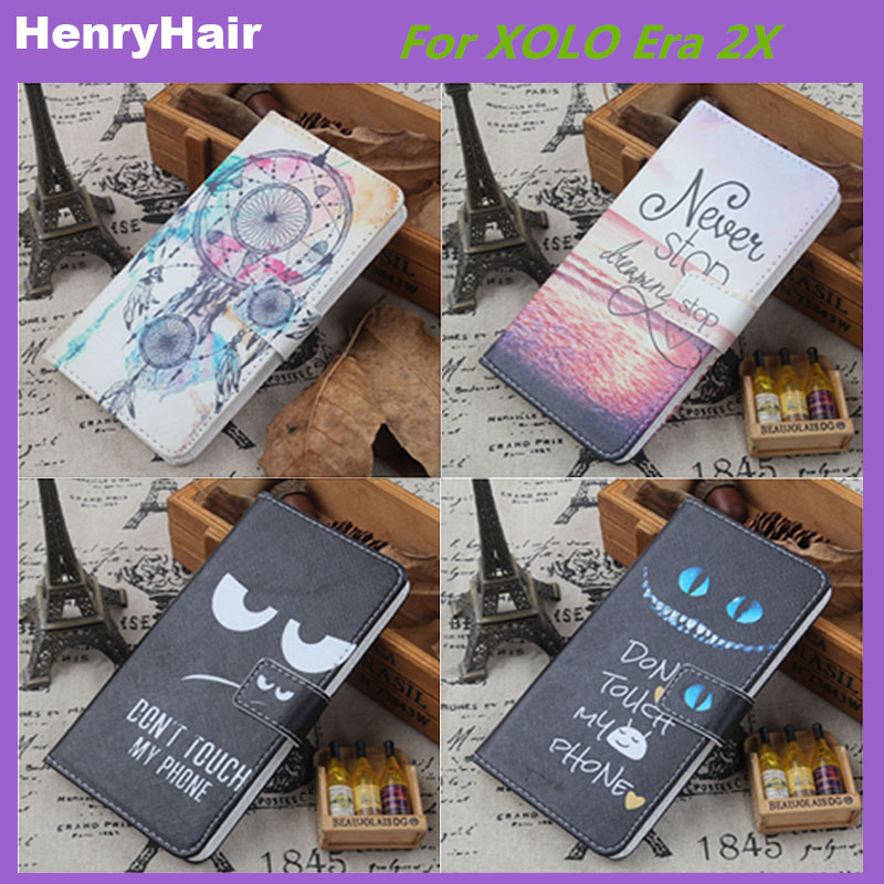 Hot! Cartoon Pattern PU Leather Cover Case Flip Card Holder Cover For XOLO Era 2X Wallet Phone Cases