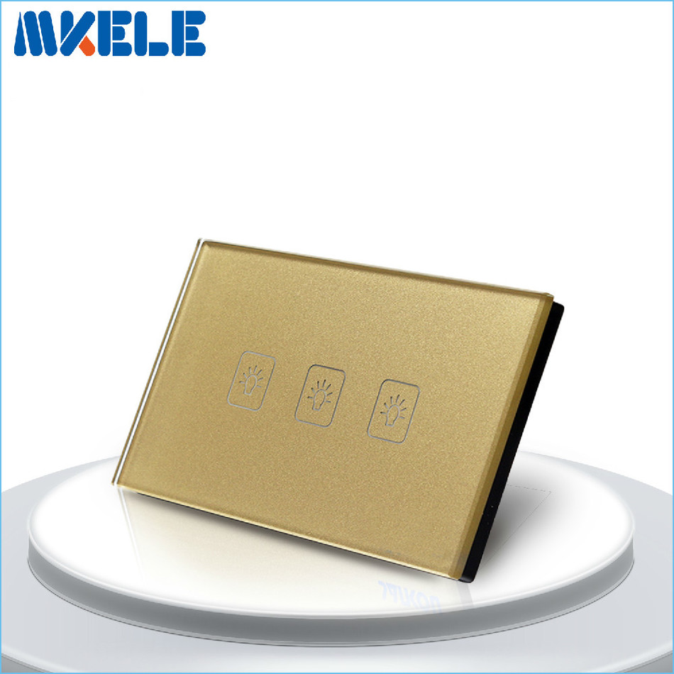 Touch Switch 3 Gang 2 Way US Standard Gold Touch Screen wall switch wall socket for lamp touch switch 3 gang 1 way us standard gold touch screen wall switch wall socket for lamp