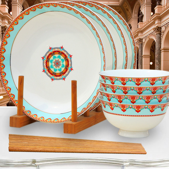 8pcs Set, Real Bone China Dinner Plate Sets, Bone China Dinnerware,  Porcelain Bowl