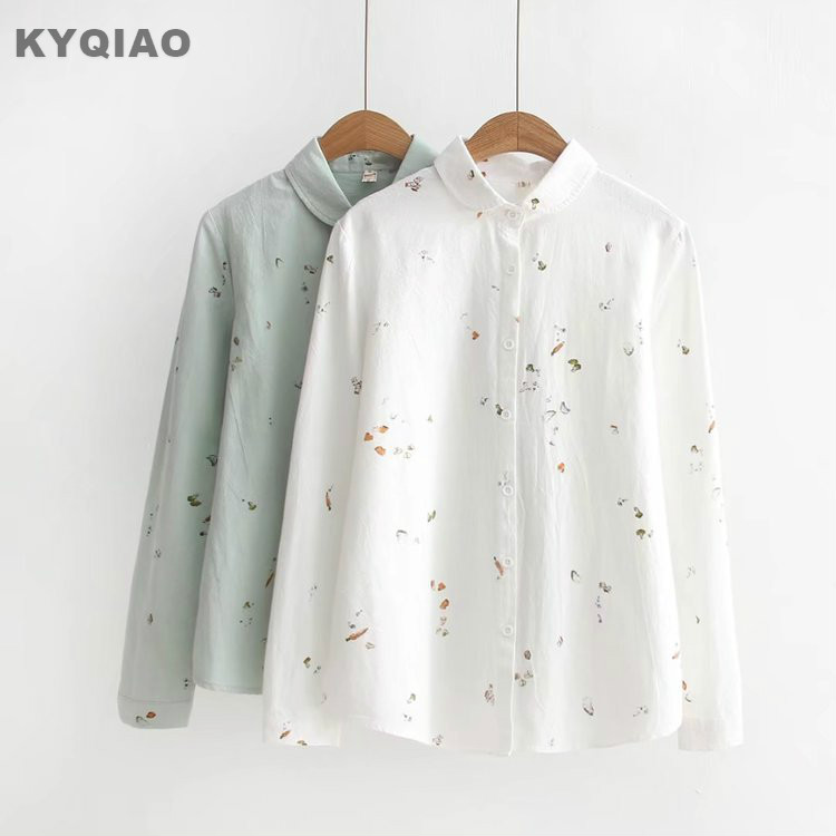 Women's Clothing Kyqiao Solid Shirt 2019 Women Autumn Spring Japanese Style Fresh Long Sleeve Turn-down Collar Hollow Bowknot Blouse Blusa