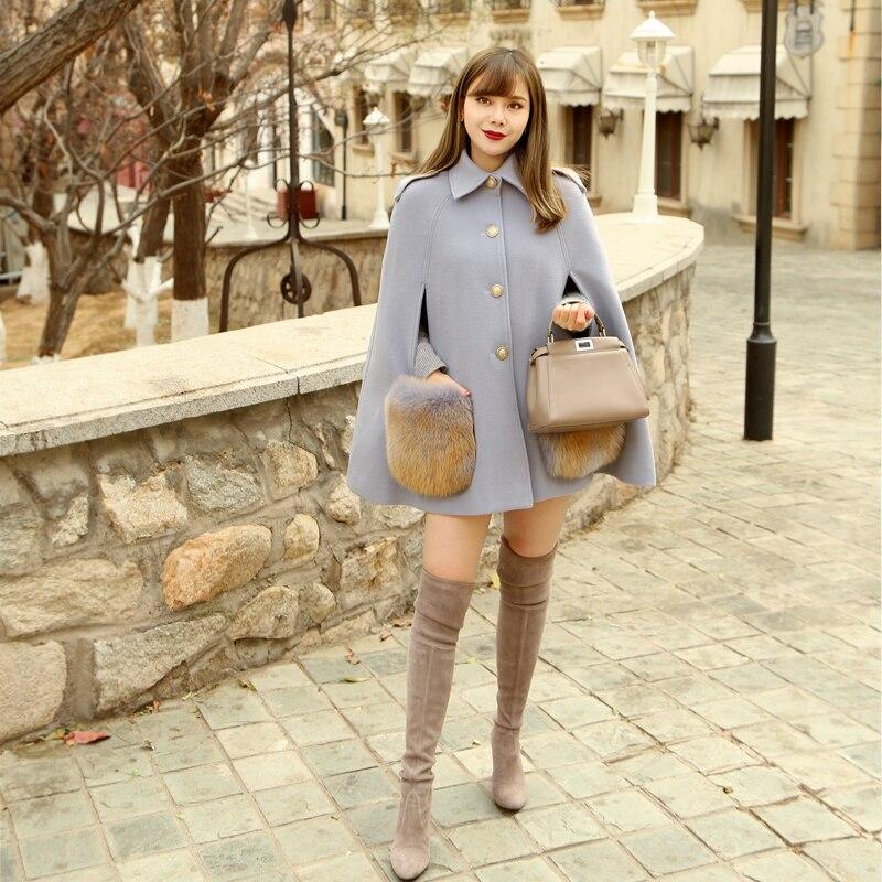 LYNETTE'S CHINOISERIE Autumn Winter Original Design Women Fox Fur Pockets Cloak Style Woolen Coats Overcoats