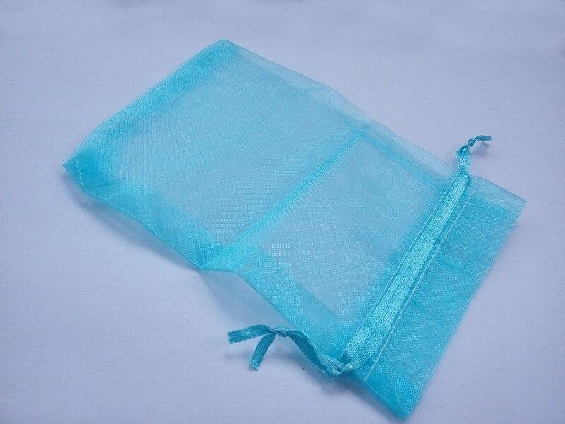 300pcs 10*15 Lake Blue gift bags for jewelryweddingchristmasbirthday Organza Bags with handles Packaging Yarn bag