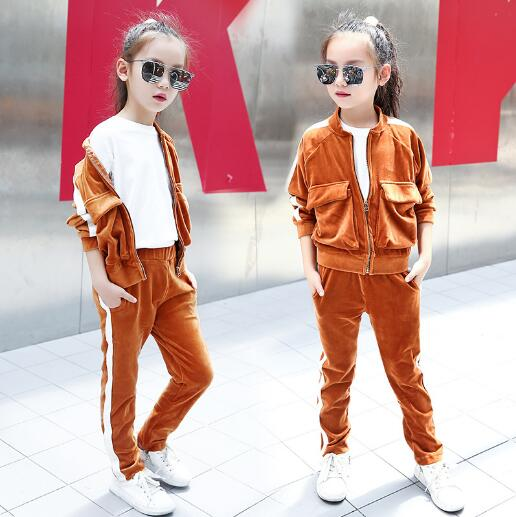 Children Girls clothing set 2017 spring teenage girls sport suit zipper school kids clothes tracksuit 2pcs  girls clothes 4~12Y 2017 new boys clothing set camouflage 3 9t boy sports suits kids clothes suit cotton boys tracksuit teenage costume long sleeve